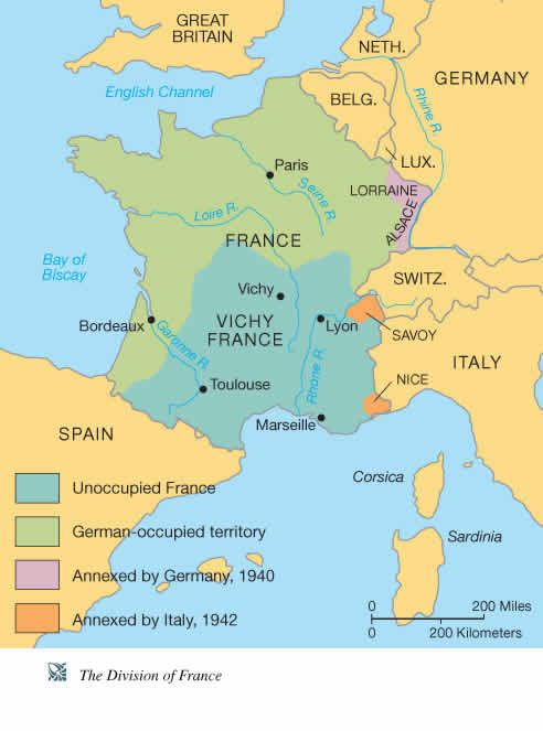 France during the Second World War | France map, France ...