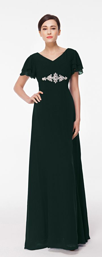 Modest Plus Size Dark Green Formal Dress with Sleeves | Abendkleider