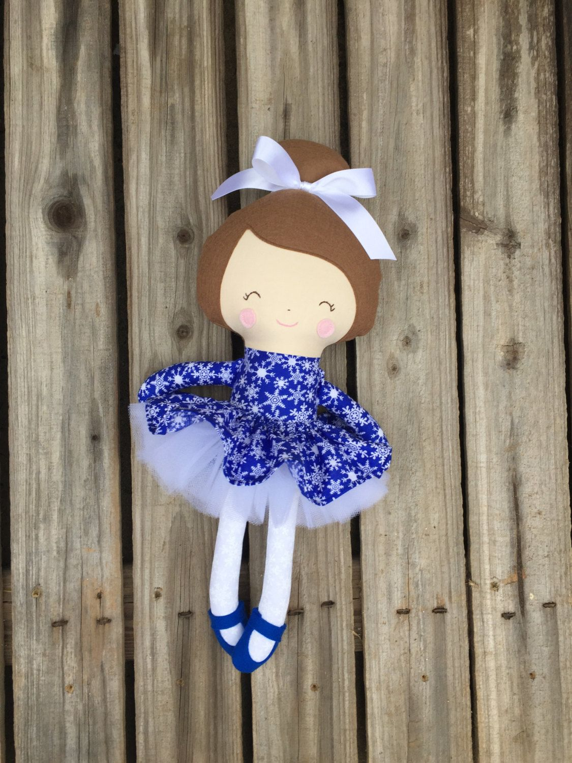 Christmas plush doll, ballerina doll with snowflakes by CuddlesandCuties on Etsy