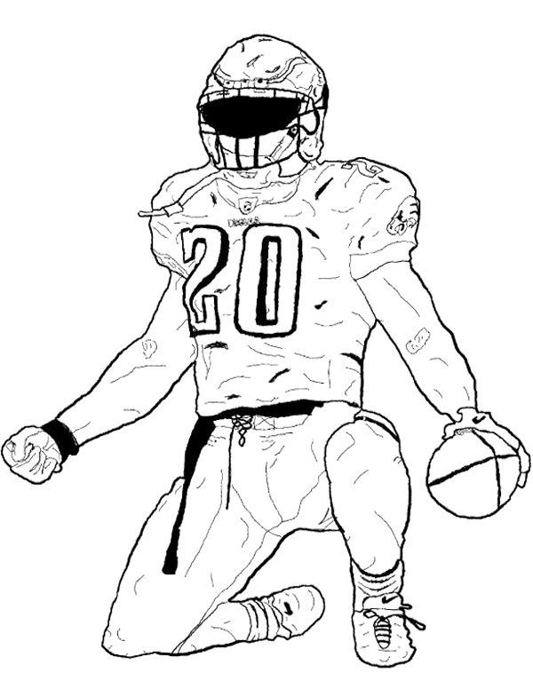 Football Player Bending The Foot Coloring Page Football Coloring Pages Sports Coloring Pages Football Player Drawing