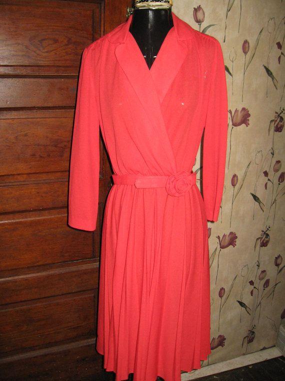 Vintage 70s Henry Lee red dress w red rose by Linsvintageboutique, $24.50