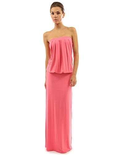 511fbbfa8f41 PattyBoutik Women's Strapless Pleated Blouson Maxi Dress (Coral Pink S)  PattyBoutik http:/