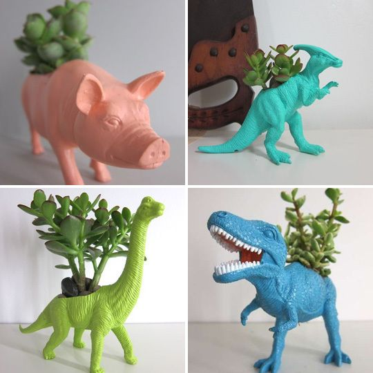 re-purposed toy planters!