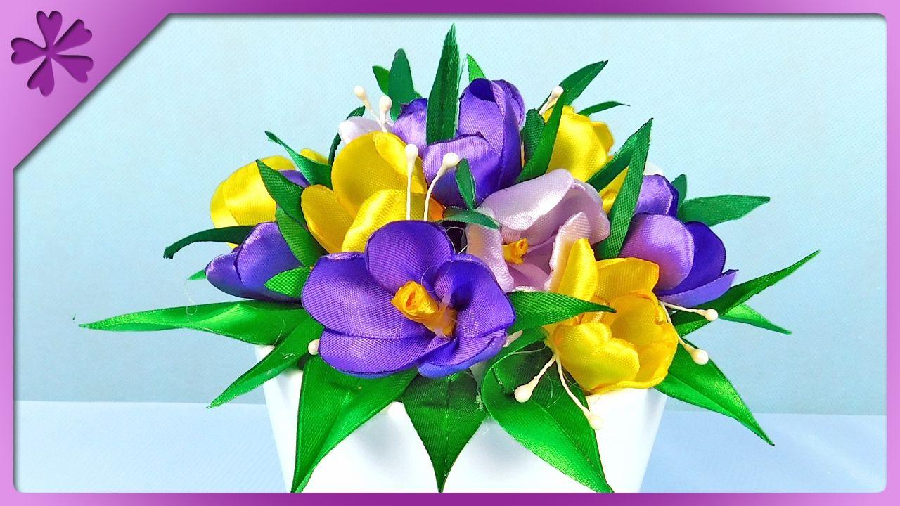 Diy Krokusy Z Tasiemki Na Szybko 315 Diy Ribbon Diy Kanzashi Paper Flowers