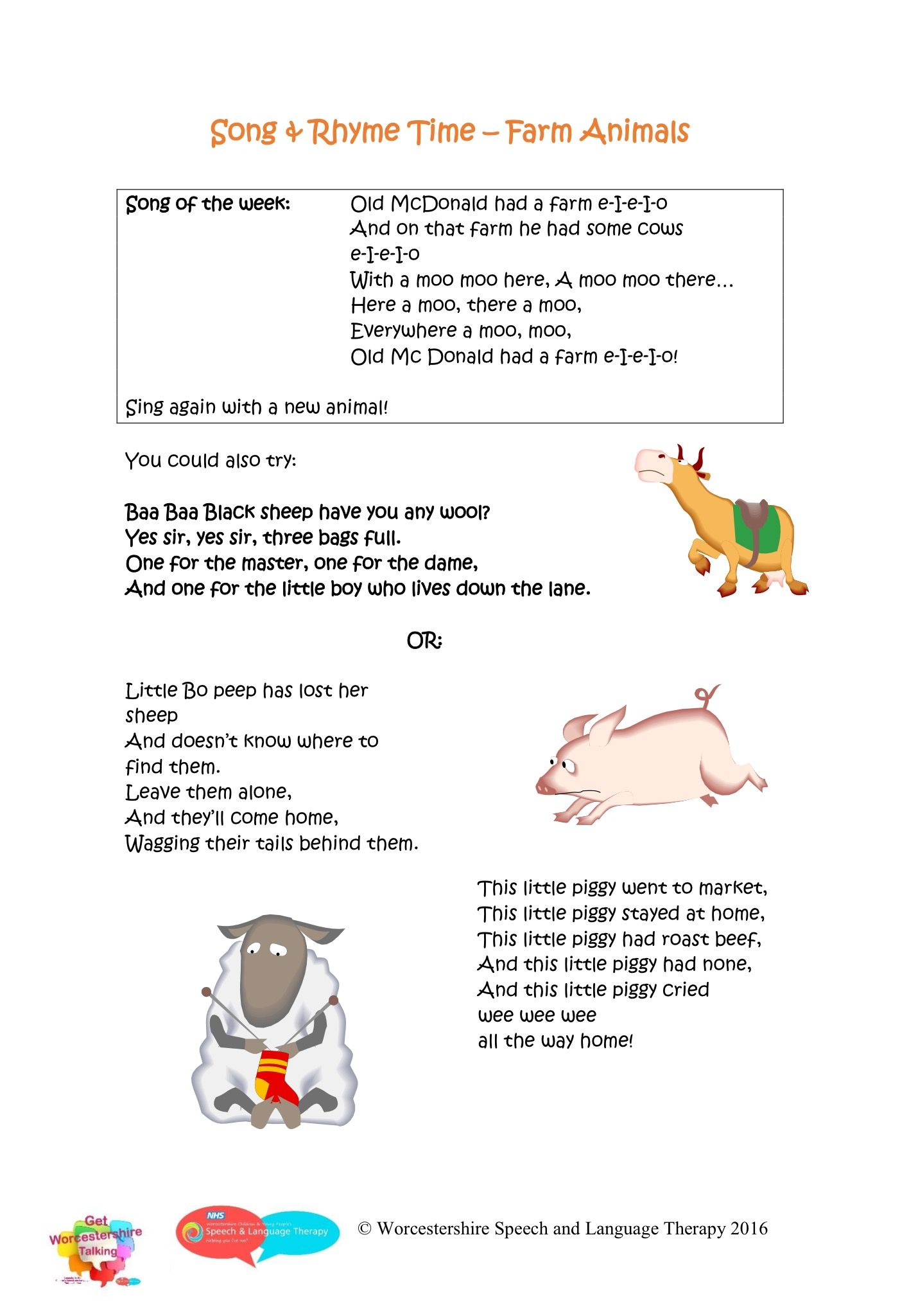 Nursery Rhymes Farm Animals With Images