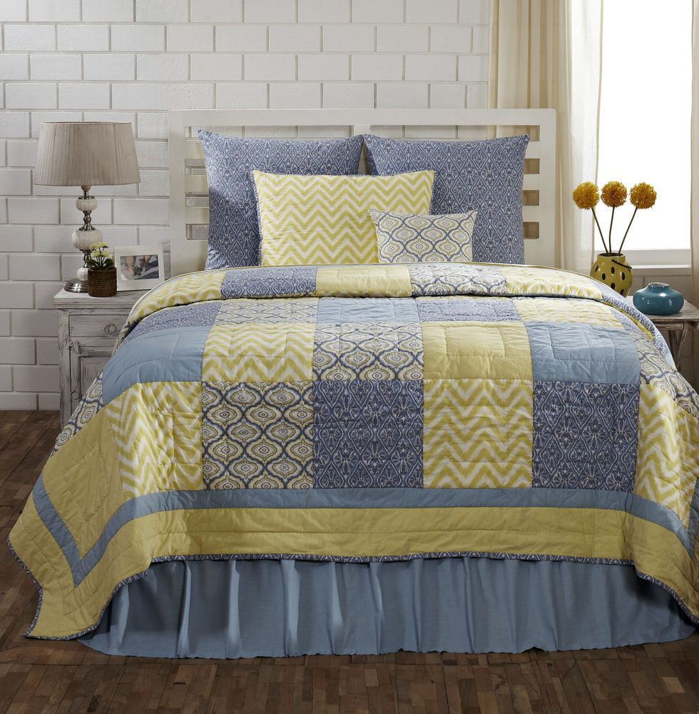 Caledon Queen Quilt 100 Cotton Quilted Bedspread Yellow Blue Patchwork Quilt Blue Quilts Classic Quilts King Quilt