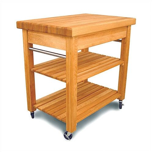 catskill craftsmen inc french country kitchen cart with butcher block top - Butcher Block Kitchen Cart