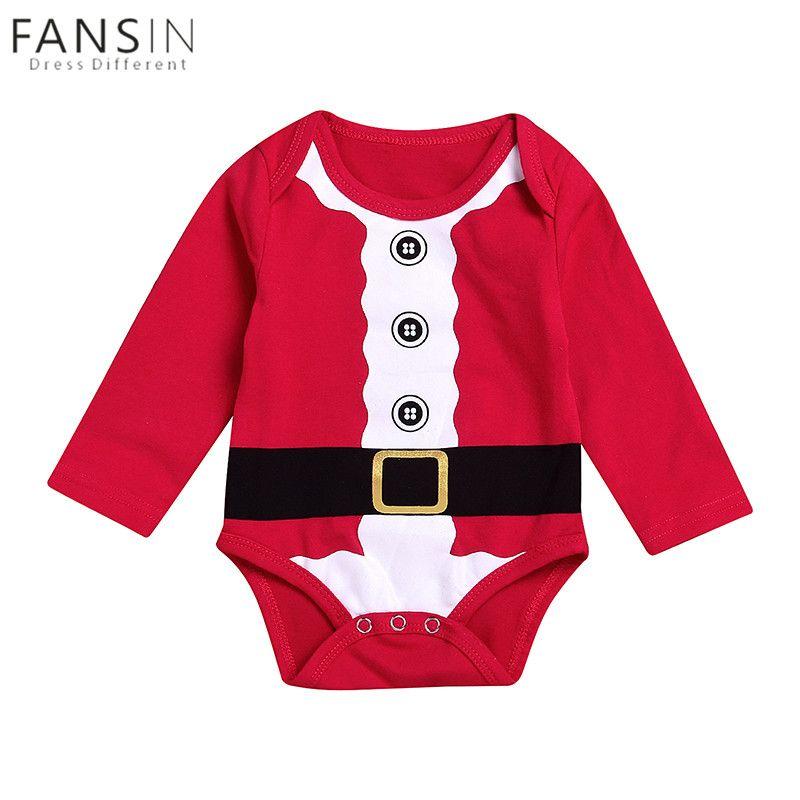 c3ee92656a57 Newborn Baby Kids Girls Boys Christmas Romper Long Sleeve Jumpsuit ...