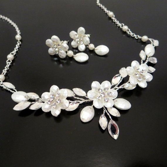 Spiksplinternieuw Swarovski kristal bruids ketting en oorbellen SET bruiloft PN-23
