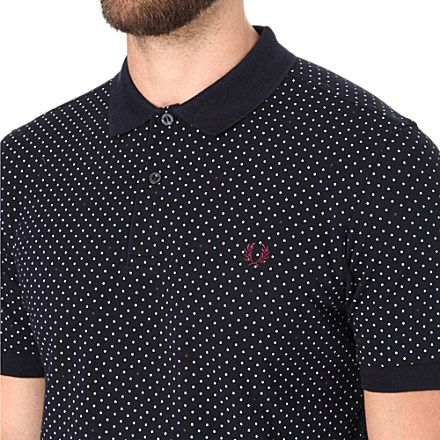 Slim fit polka dot polo shirt fred perry polo shirts for Slim fit polka dot shirt