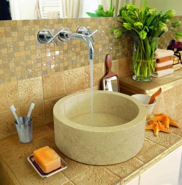 Carrelage mosaïque dans la salle de bains 30 idées modernes - carrelage en pierre naturelle salle de bain
