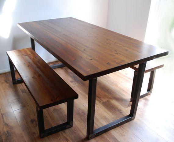 Table cuisine salle manger vintage industriel et banc Salle a manger avec banc