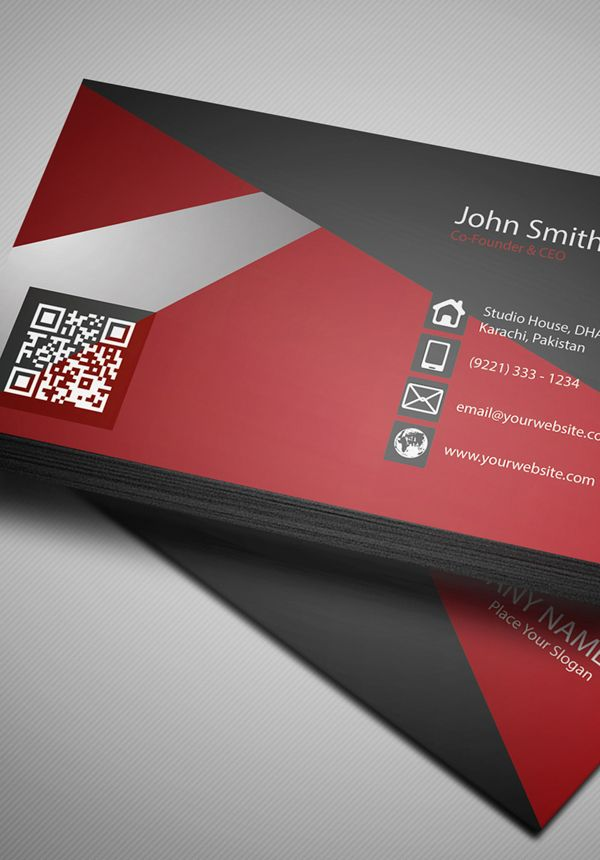Free Creative Red Business Card Psd Template 4 Business Cards