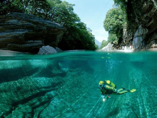 • Swim in the World's Clearest Water: Switzerland: The clear waters of the Verzasca River for 30 km through this rocky valley in Southern Switzerland.