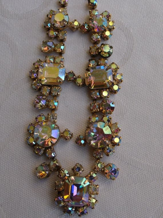 This is a beautiful vintage necklace gold loaded with aurora borealis stones. I am not sure if this is Juliana D&E or not but it has aspects of