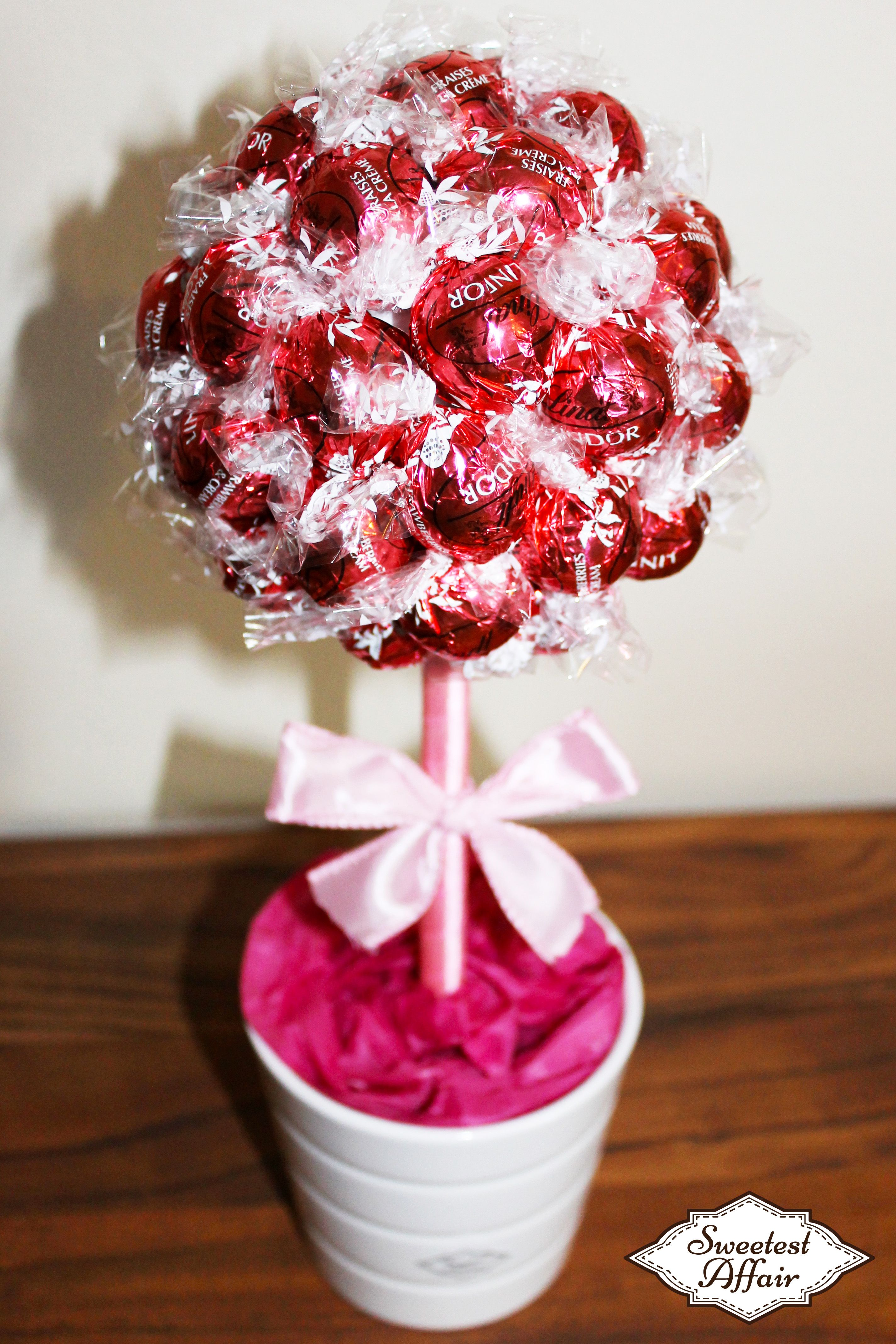 Pink Lindt Lindor Chocolate Truffle Tree- Strawberries and Cream ...
