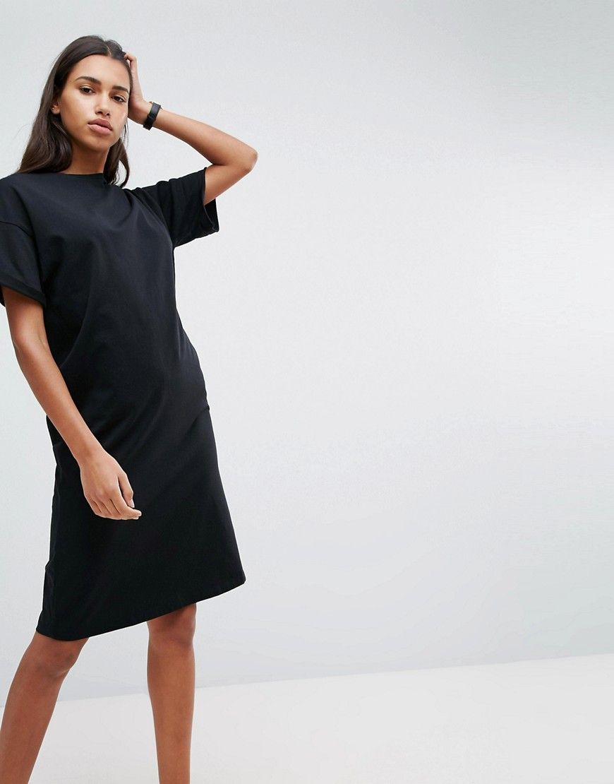61d2945eaff ASOS Ultimate Midi T-Shirt Dress With Rolled Sleeves - Black