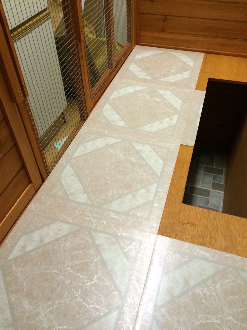 Adding vinyl floor tiles to the floors of a rabbit guinea for Simple guinea pig cage