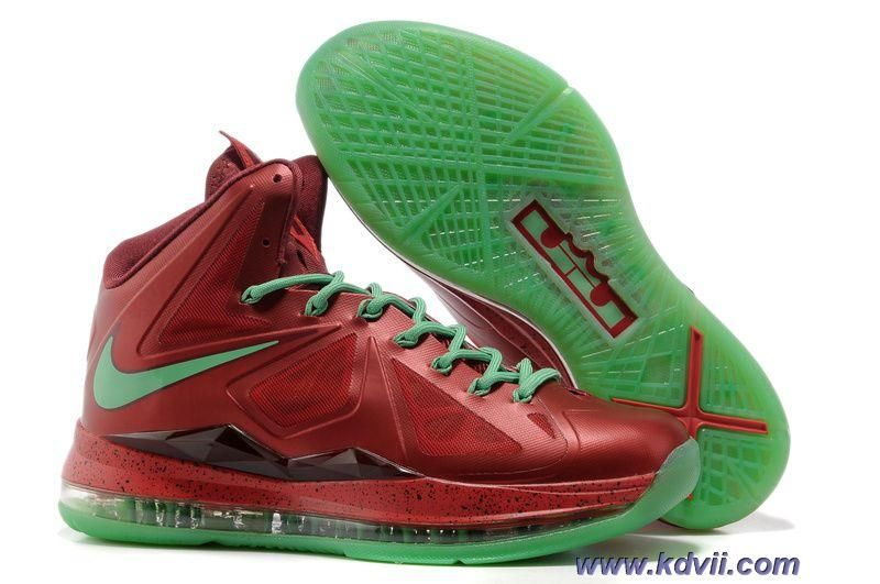 Christmas Nike Lebron X 10 Red Green Style 541100-600 Online