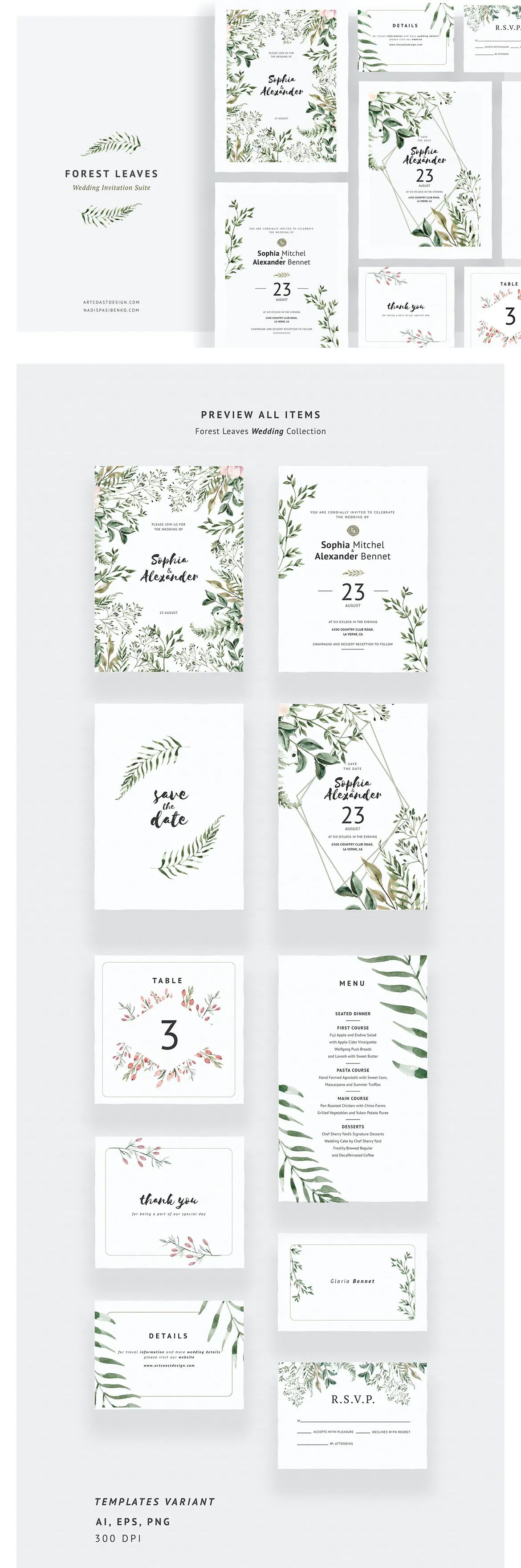 Forest Leaves Wedding Invitations In 2021 Wedding Invitation Card Template Wedding Leaves Wedding Invitations