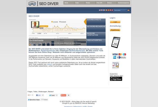 Der SEO DIVER unterstützt Sie in Ihrem täglichen Umgang bei der Überwachung und Analyse von Wettbewerbern, Keywordrecherche oder analytischen Backlink-Recherchen. Mit Hilfe unserer Tools können Sie Ihren Online Shop / Webseite noch effizienter und zielgerichteter optimieren.