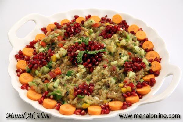 سلطة الباذنجان المشوي Middle Eastern Recipes Asian Recipes Cooking Recipes