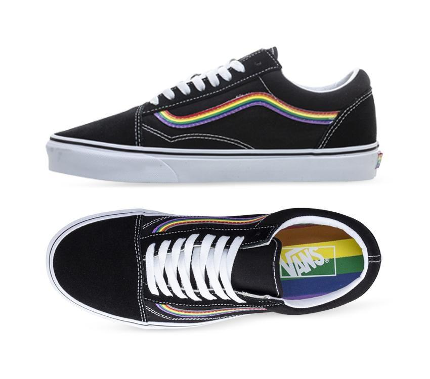 Shop Vans Old Skool Rainbow Black