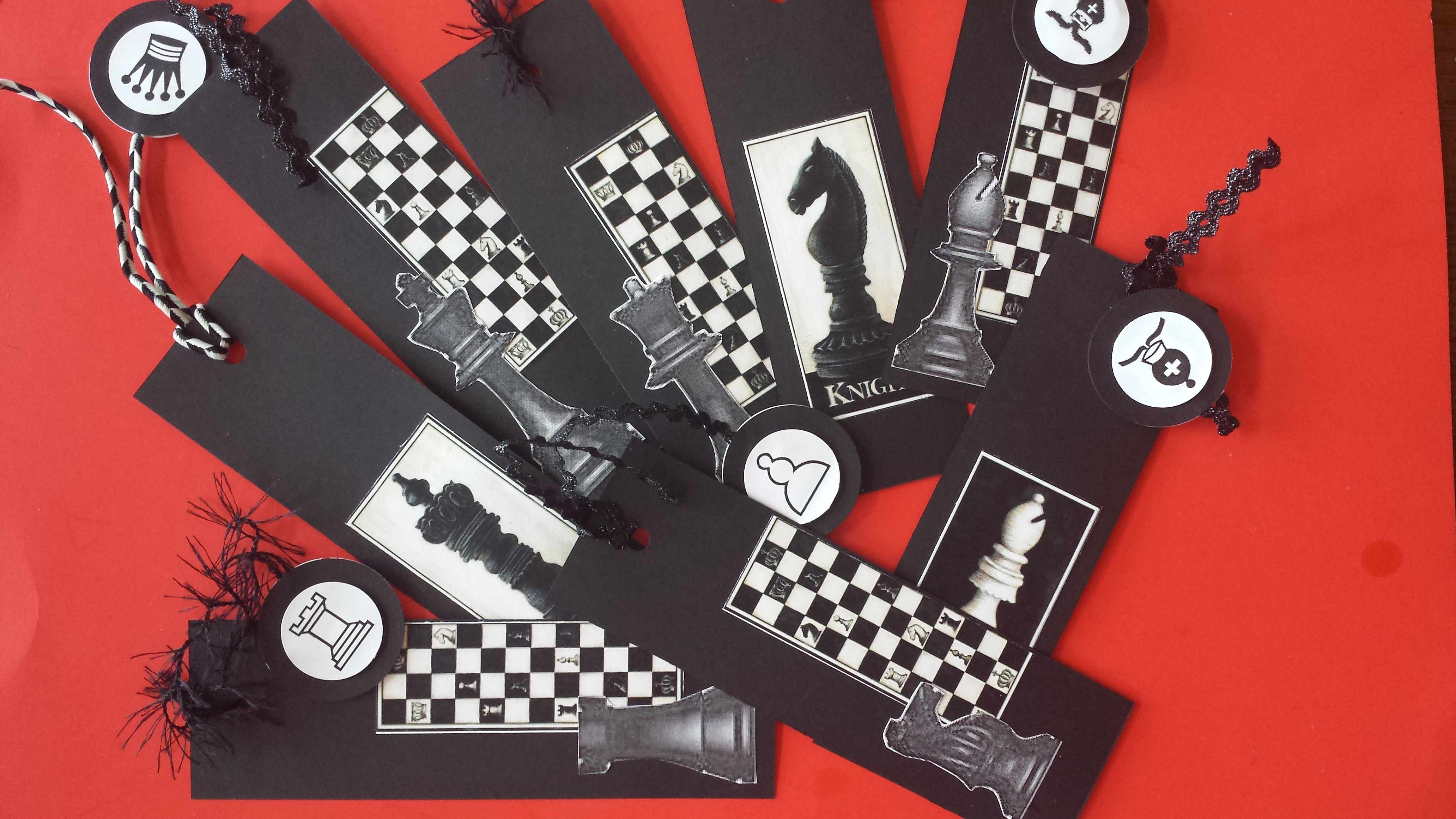 Chess birthday party favors chess bookmarks set of 12
