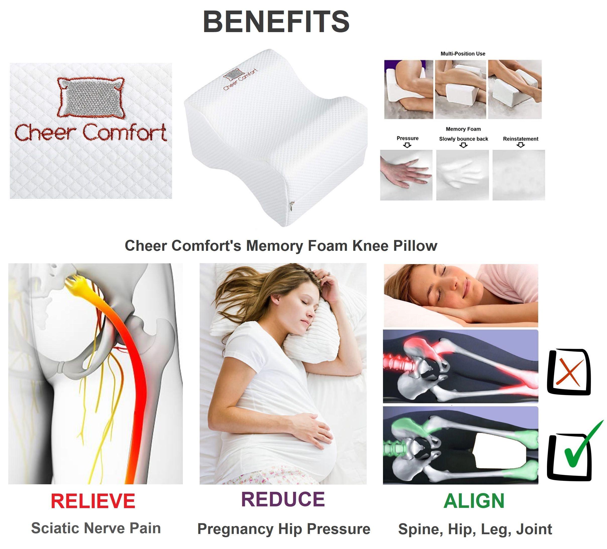 Benefits Of Cheer Comfort S Memory Foam Knee Pillow In 2020 Knee Pillow Memory Foam Memory Foam Pillow