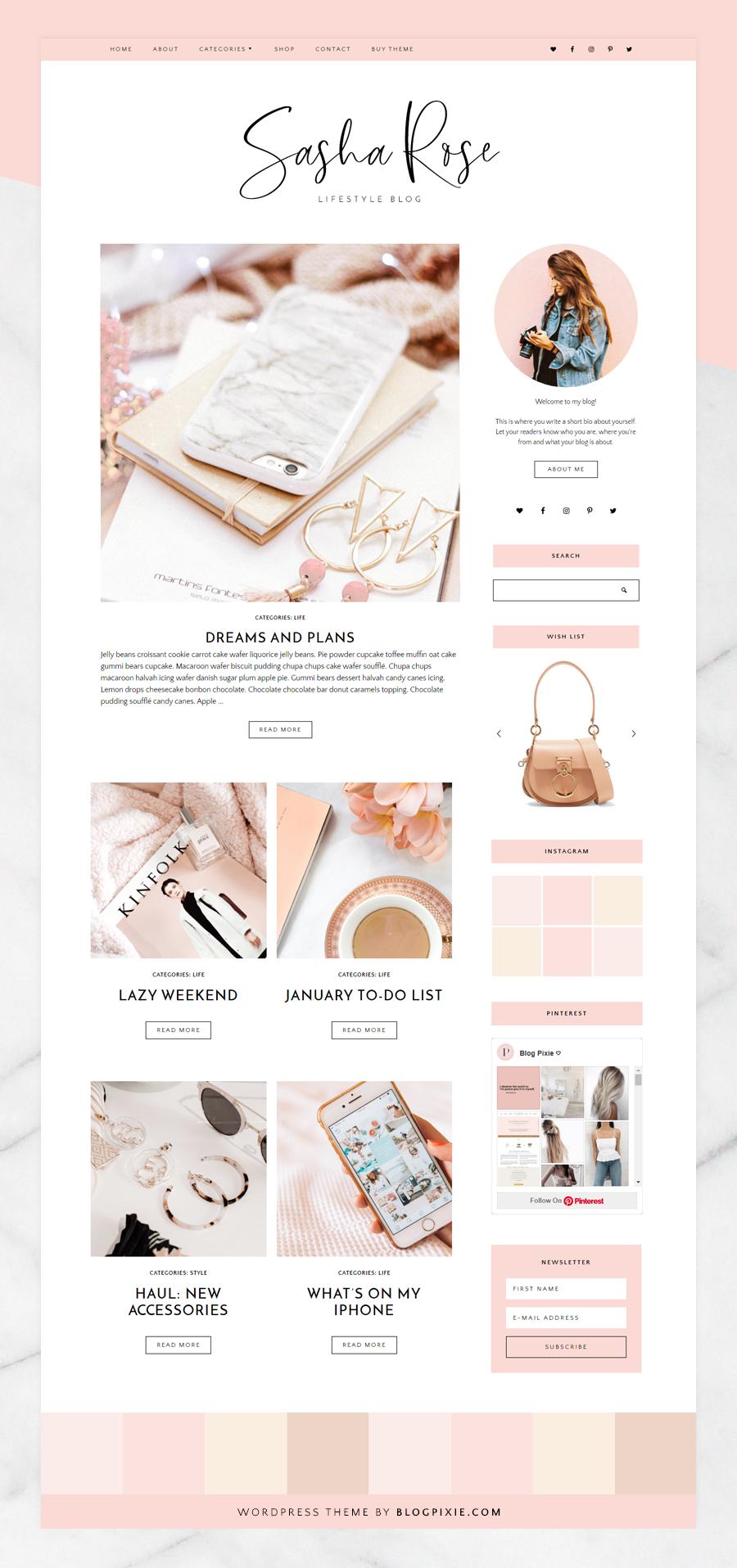 Wordpress Themes For Bloggers - Sasha Rose Wordpress Blog Theme by Blog Pixie