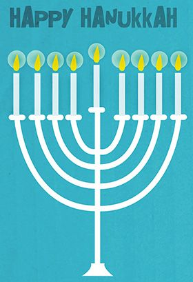 image about Printable Hanukkah Card titled Delighted Hanukkah Menorah - Hanukkah Card (No cost Hanukkah