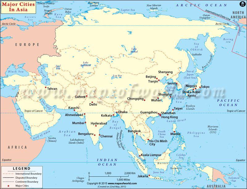 Map showing all the major cities in Asia Asia maps Asia map