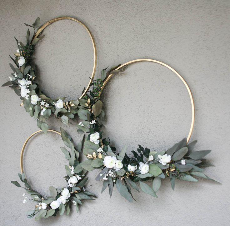 Wedding Hoops mit Grün und Blumen Bridal Shower Dekor
