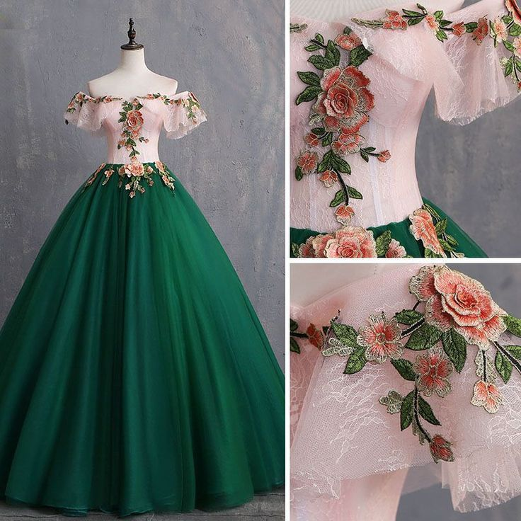 Vintage  Retro Dark Green Prom Dresses 2019 Ball Gown Appliques Lace OffTheShoulder Short Sleeve Backless Best Picture For formal dresses for teens For Your Taste You are...