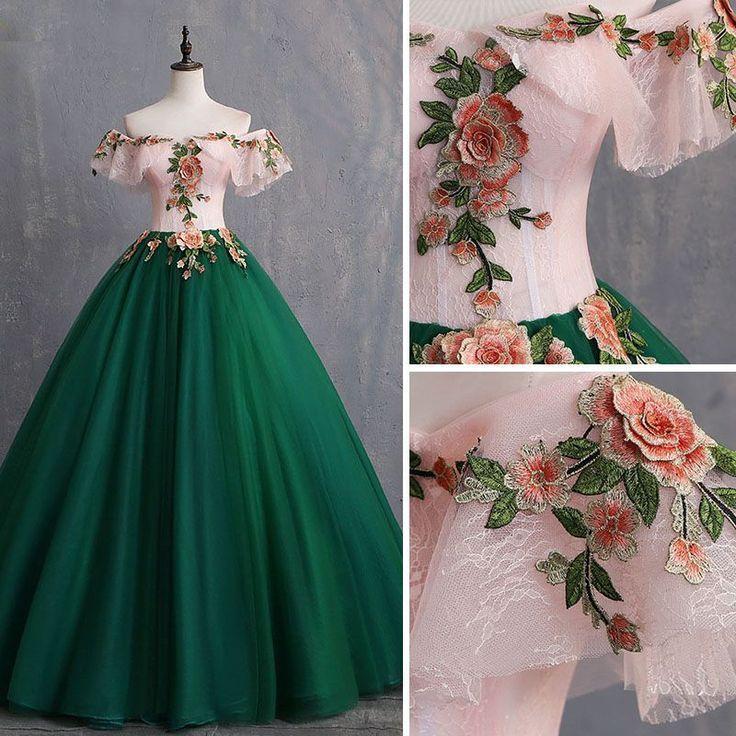 Robes de bal vintage vertes / rétro vert foncé 2019 robe de bal appliques en dentelle hors- l... #promdresses