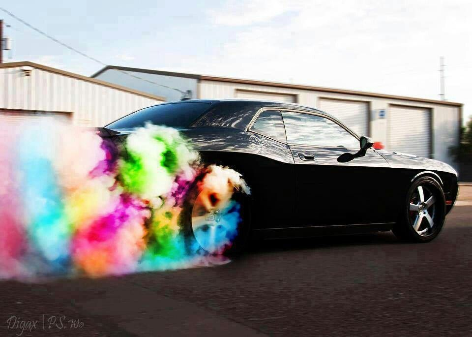 Dodge Challenger Burn The Rainbow Dream Cars Performance Wheels Classic Cars Muscle