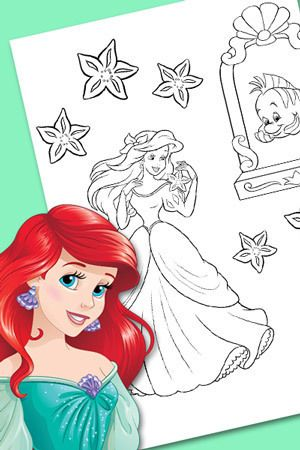 ariel starfish count  disney princess coloring pages