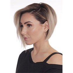 Short Bob Layered Hairstyle Synthetic Straight Lac