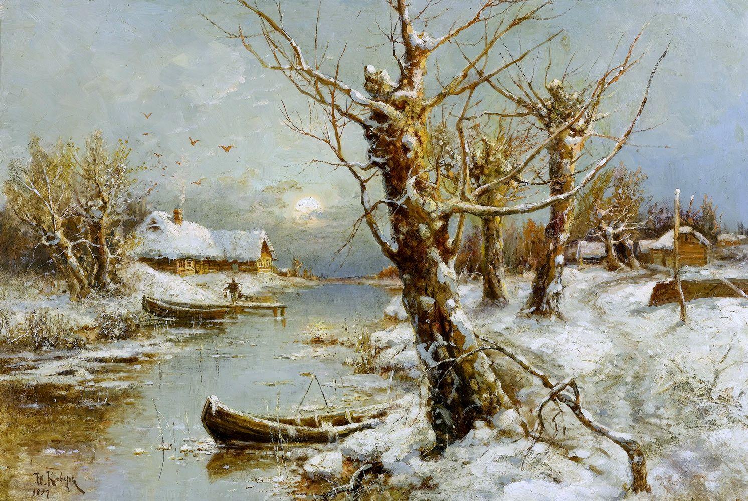 Winter River Landscape 1897 Landscape Paintings Oil Painting Landscape Oil Painting Nature