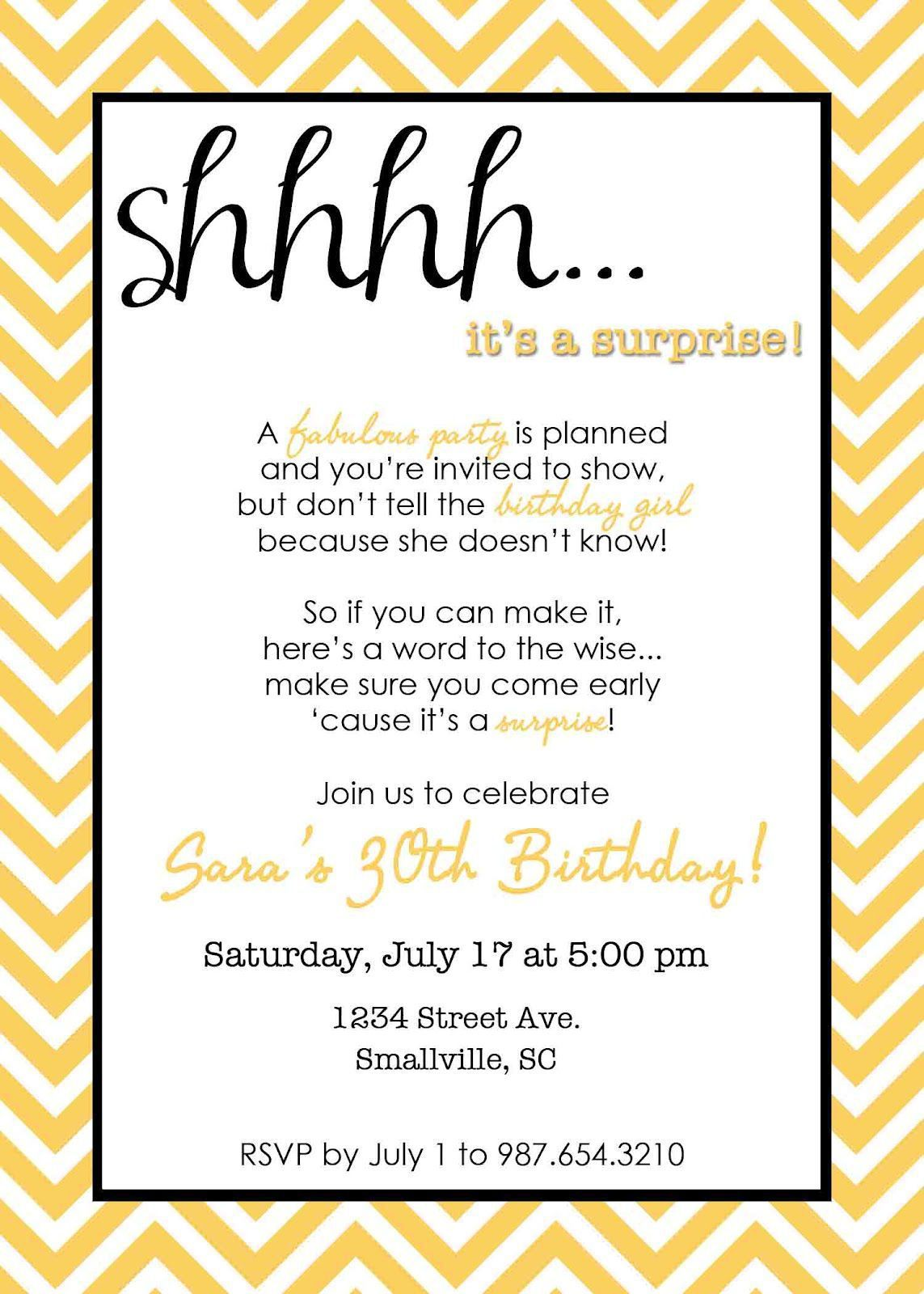 birthday invitation surprise birthday party invitations Free