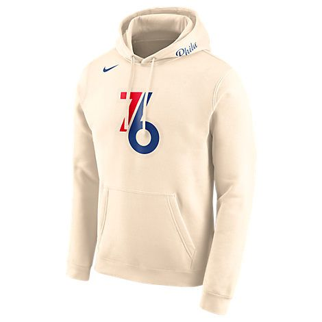 NIKE MEN S PHILADELPHIA 76ERS NBA CLUB CITY FLEECE PULLOVER HOODIE ... e701e945a