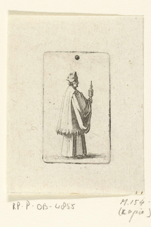 anoniem   Priester met monstrans, attributed to Jacques Callot, 1607 - 1635   Een priester, ten voeten uit weergegeven en naar rechts lopend, draagt een monstrans met het Heilig Sacrament van de Eucharistie. Bovenin de voorstelling een stip, het resultaat van een gaatje in de plaat.