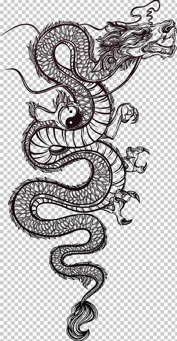 Photo of Chinese Dragon Tattoo Illustration PNG – Free Download