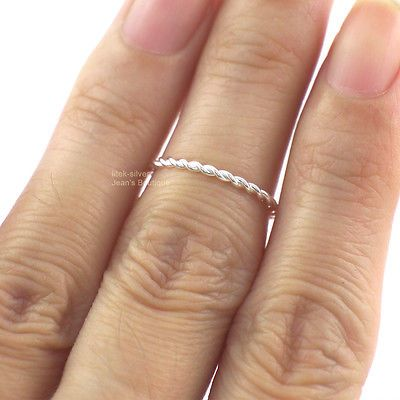 925 Solid Sterling Silver Twisted Dainty Line Knuckle Midi Mid Finger Ring A3486