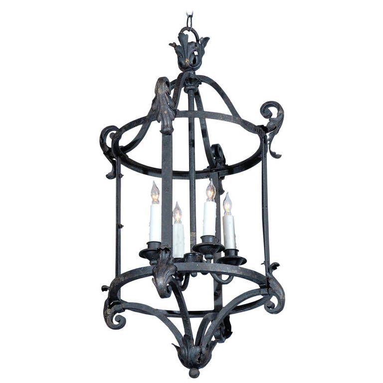 French 1920s wrought iron four light wired lantern with acanthus french 1920s wrought iron four light wired lantern with acanthus leaf accents 1stdibs aloadofball Gallery