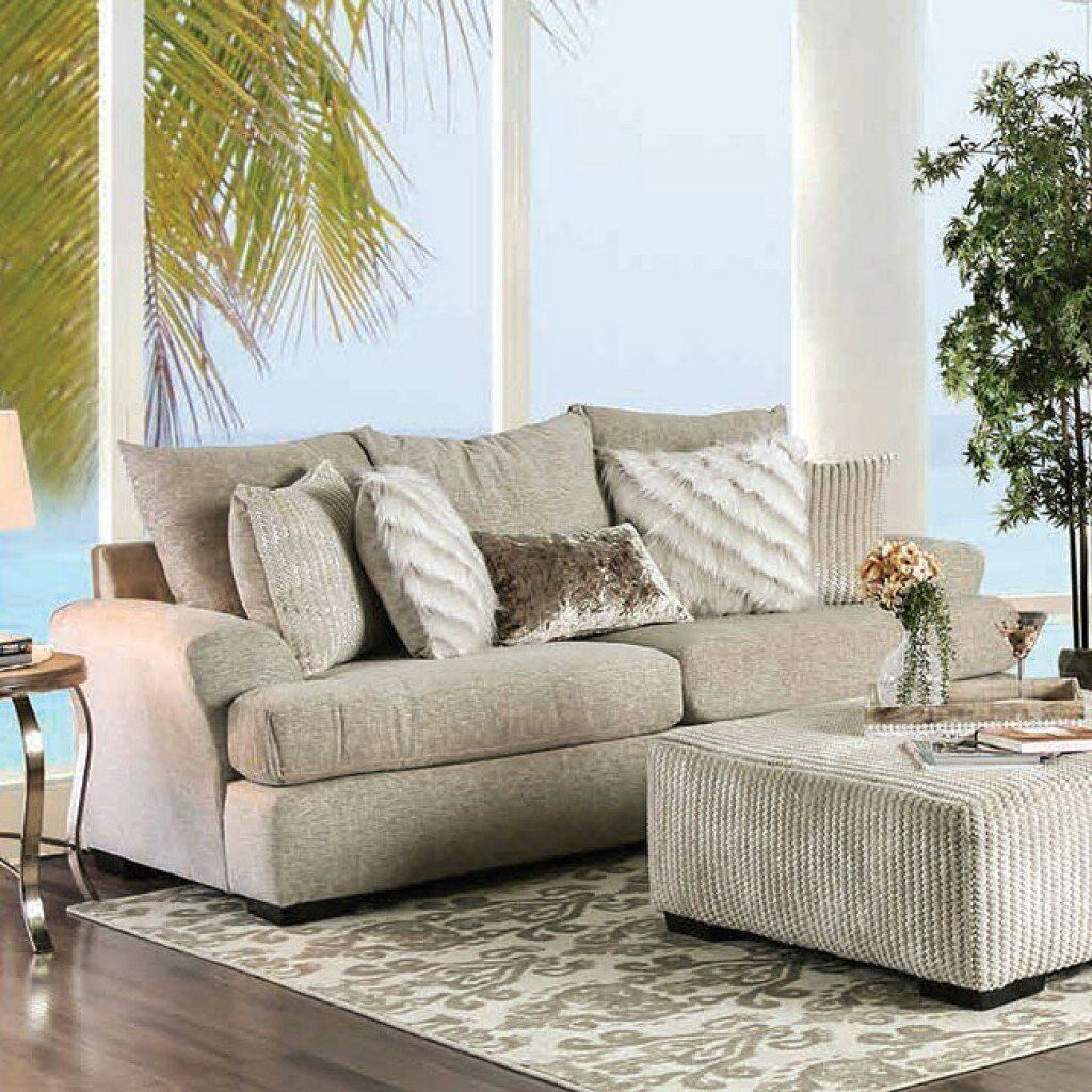 Details About Beige Sofa Loveseat T Cushion Seating Couch Pillows