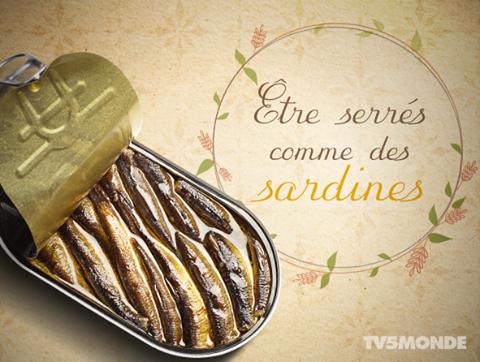 Être serrés comme des sardines: Être très serrés, dans un endroit comble