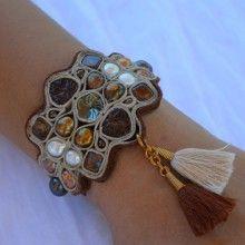 JENNY RABELL Bronze Leather Tapestry Bracelet