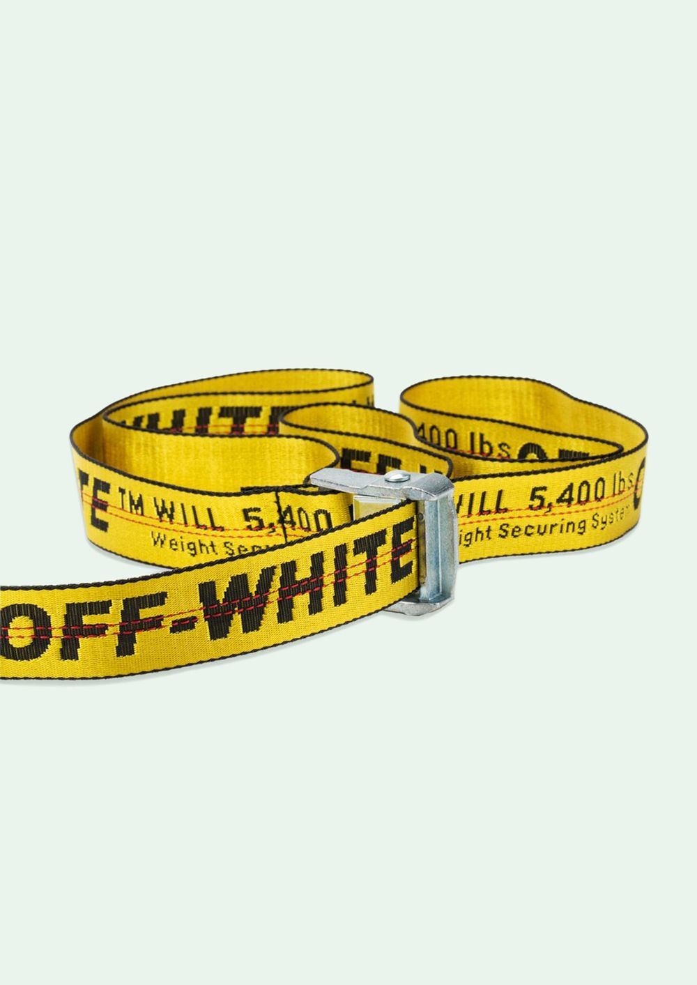 SS19 OFF WHITE Tie Down Nylon Cotton Iron Buckle Industrial Belt 200cm 4 colors