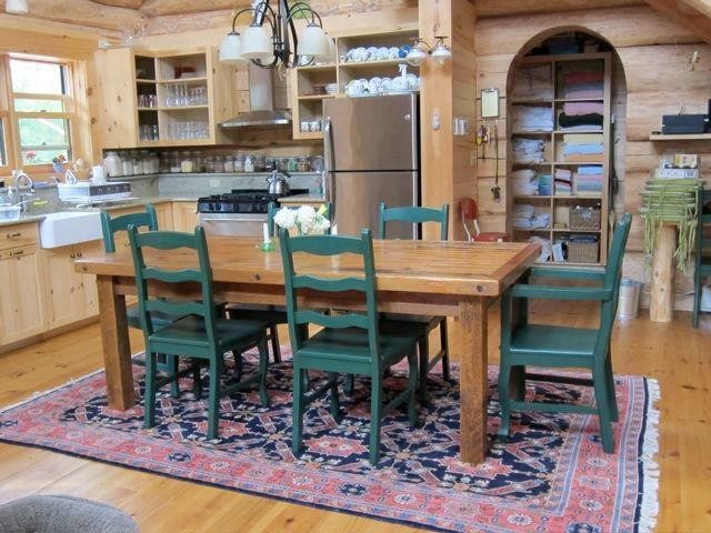 Barnwood Dining Table Farm Base Shown with Hand Painted Wood